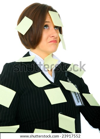 unhappy female businesswoman has many empty post it note on her suit - stock photo
