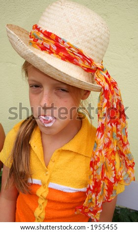 unhappy girl with gum over her face - stock photo