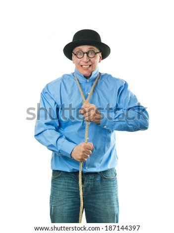 Unhappy man with a rope around his neck - stock photo