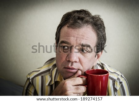"""Unhappy mature man. """"Real People"""" series - stock photo"""