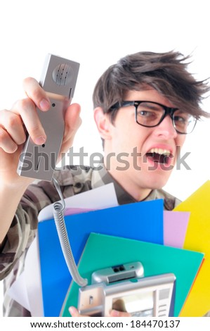 Unhappy office worker being yelled at from the phone, isolated on white - stock photo