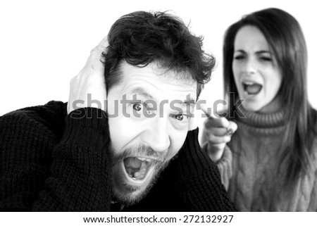 Unhappy sad husband not willing to accept wife shouting - stock photo