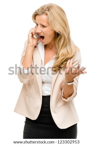 Unhappy woman fighting using mobile phone isolated on white background - stock photo
