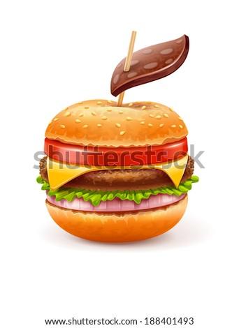 unhealthy eating concept with hamburger like apple. Rasterized illustration. - stock photo