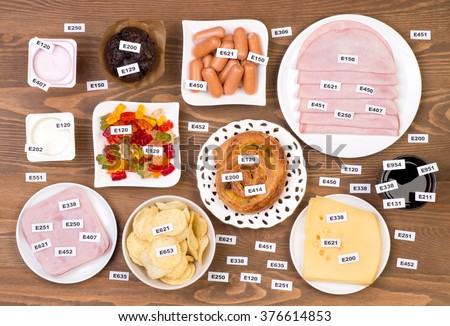 Unhealthy food additives  - stock photo