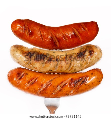 Unhealthy grilled barbecue sausage isolated on white background - stock photo