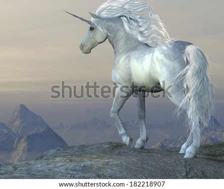Unicorn Bluff - A white unicorn stallion looks over his vast territory from a mountain cliff. - stock photo