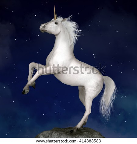 Unicorn in a starry night - 3D illustration - stock photo