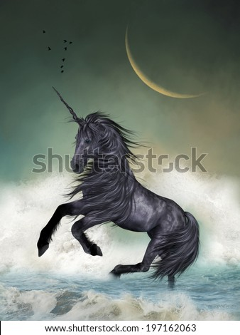 Unicorn in the ocean with big moon - stock photo