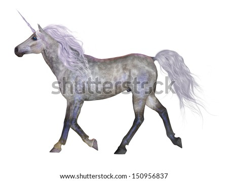 Unicorn on White - The Unicorn is a mythical creature that was usually a white horse with a horn on its forehead. - stock photo