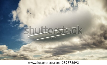 unidentified flying object falling from the sky - stock photo
