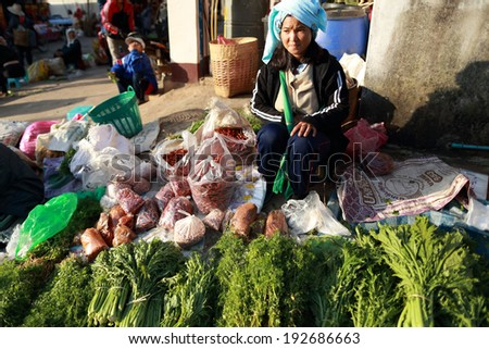 Unidentified hilltribe,morning market ,Chaing rai, Thailand on February 2,2013:The establishment of Division 93 of the Chinese community immigrant on Doi Mae Salong , so full of life and culture.  - stock photo