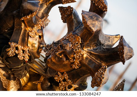 Unidentified persons in Venice mask at St. Mark's Square - stock photo