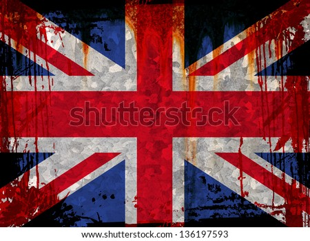 Union flag on a grunge wall background - stock photo