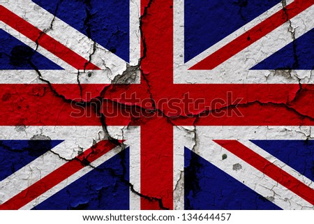 Union flag on an old cracked wall - stock photo