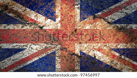 Union Jack Flag on the rock texture - stock photo