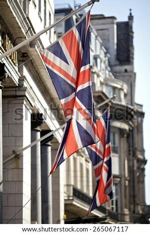 Union Jack flags in Regent Street, London, UK - stock photo