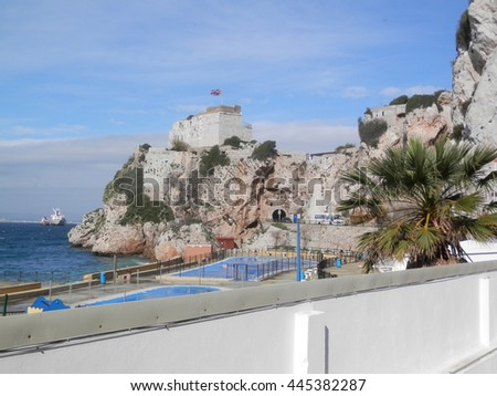 Union Jack flying on bastion in Gibraltar - stock photo