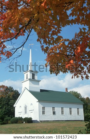 Union Meeting house in autumn on Scenic Route 100, Stowe, Burke Hollow, Vermont - stock photo