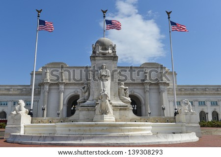 Union station with statue of Columbus in Washington DC - stock photo
