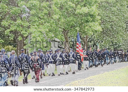 Union troops marching in column formation,   Civil War Battle Re-enactment,  Port Gamble, WA - stock photo