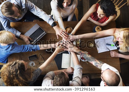 Union Unity Deal Join Hands Friends Teamwork Concept - stock photo
