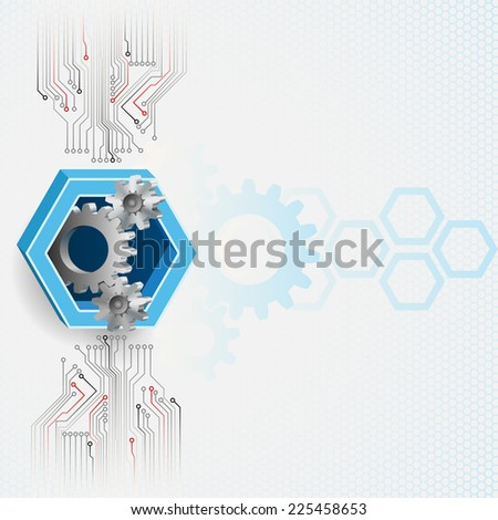 Unique concept for technology background; Cogwheels framed by three dimensions hexagon. Abstract background for office and business, wallpaper, poster, template for designers.  - stock photo