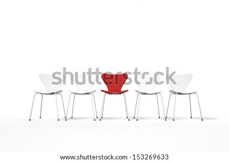 Unique concept with red and white chairs standing in row - stock photo