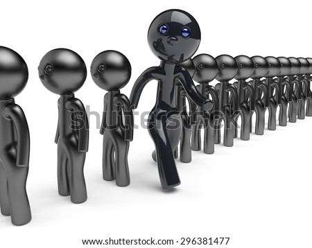 Unique different character man stand out from the crowd people think differ person otherwise run to new opportunities concept individuality referendum vote icon black 3d render isolated - stock photo