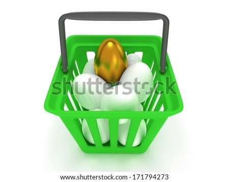 Unique golden egg among white eggs in shopping basket isolated on white background - 3d render. Easter, out of crowd, business concept. - stock photo