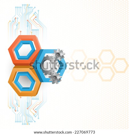 Unique idea for technology background; Cogwheels framed by three dimensions hexagons. Abstract background for office and business, wallpaper, poster, template for designers.  - stock photo
