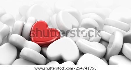 Unique love heart. 3D Illustration - stock photo