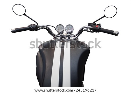 Unique Perspectives of motorcycle detail with gasoline tank and speedometer, isolated on white - stock photo