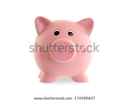 Unique pink ceramic piggy bank isolated on white - stock photo