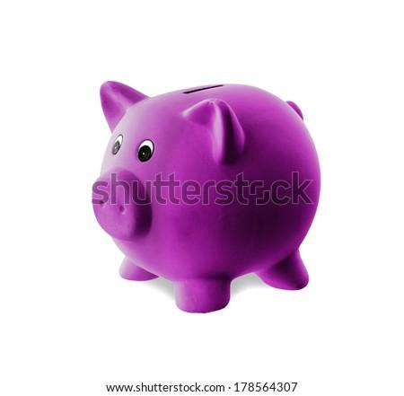 Unique pink ceramic piggy bank isolated, purple - stock photo