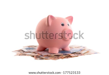 Unique pink ceramic piggy bank on top of money - stock photo