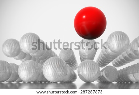 Unique red ball among grey balls. Conception of leadership - stock photo