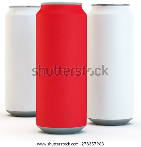 unique red can for beer or drinks stand ahead the white - stock photo