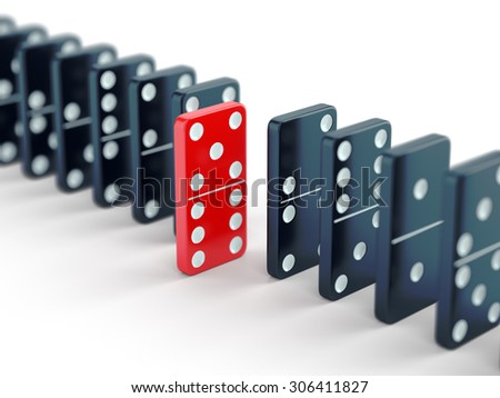 Unique red domino tile among many black dominoes. Standing out from crowd, individuality and difference concept. - stock photo
