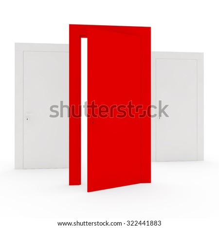 unique red open door in the foreground - stock photo