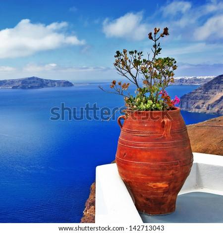 unique Santorini series, beautiful details - stock photo