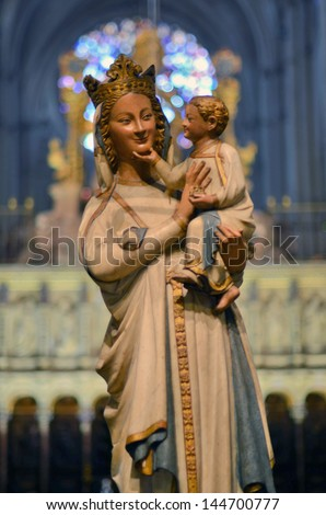Unique smiling Virgin at the Cathedral of Toledo in Spain - stock photo