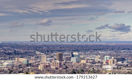 Unique view of Boise city Idaho - stock photo