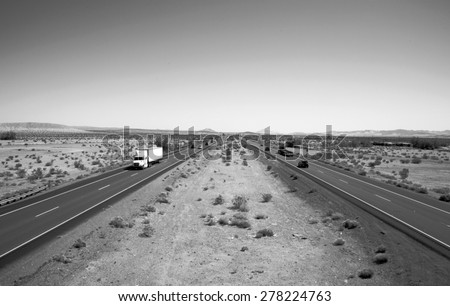 Unique View of the Interstate 15 Freeway from an overpass heading North towards Las Vegas, Nevada and South towards Los Angeles California. I15 is the main freeway between Las Vegas and Los Angeles - stock photo