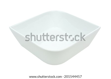 Unique white rounded square bowl isolated on white - stock photo