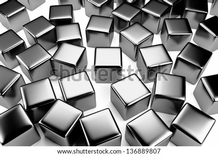 Uniqueness and identity concept: steel cube surrounded by a crowd of the same scattered steel cubes - stock photo