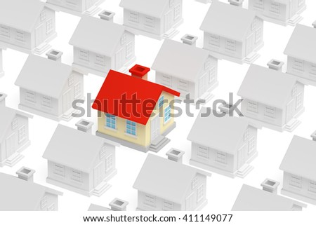 Uniqueness, individuality, real estate business creative concept - funny colorful unique house standing out from crowd of gray ordinary houses, 3d illustration - stock photo