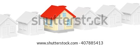 Uniqueness, individuality, real estate business creative concept - funny colorful unique house in row of ordinary gray houses standing out from crowd - stock photo