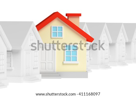 Uniqueness, individuality, real estate business creative concept - funny colorful unique house in row of gray ordinary houses standing out from crowd and look at you, 3d illustration - stock photo