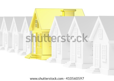 Uniqueness, individuality, real estate business creative concept - gold unique house in row of gray ordinary houses standing out from crowd, 3d illustration - stock photo